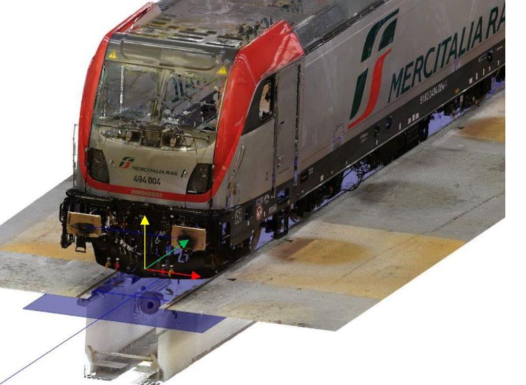 Dimensional control of a TRAXX DC3 train engine